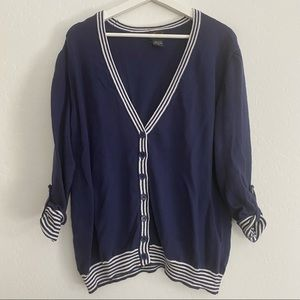 Torrid Navy and White Letterman Cardigan Sweater